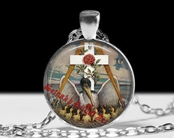 Rosicrucian pelican pendant, rose and cross jewelry, rosicrucian necklace, esoteric jewelry, occult pendant #197