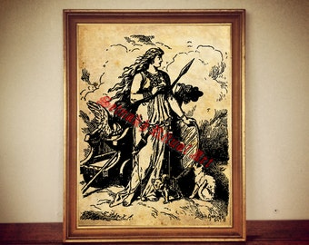 Freyja holding her shield print, Norse mythology poster, nordic goddess illustration, scandinavian decor, Freija art wall decor #337