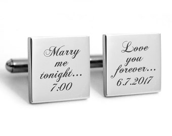 Wedding Cuff links, engraved cufflinks, personalized metal cuff links, groom cuff links, marry me tonight
