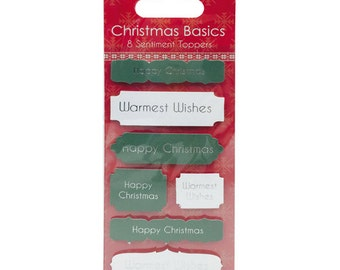 SALE - Christmas Basics Green Cream 8 Adhesive Toppers - Sentiments - Warmest Wishes - Happy Christmas