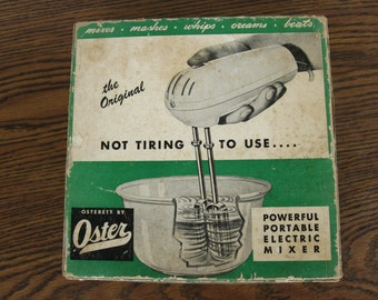 vintage Oster Osterett hand mixer, hand mixer, bakeware, kitchenware, vintage, mixer, electric mixer, mid century, 1940s, retro