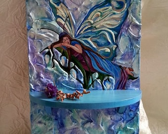 "Key Holder with shelf ""Blueberry dreams""-Wall Décor-Wall Hangings-Wall Hanging Key Holder-Butterfly-Elf-Wings"