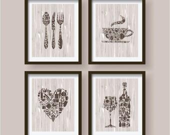 SET OF 4   Lovely Kitchen Decor,kitchen Wall Art,kitchen Decor,kitchen