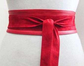 Red leather Suede Belt | Red Suede Obi Belt | Waist Belt | Sash Tie Belt | Womens Leather Belt| Handmade Belt | Plus size belts