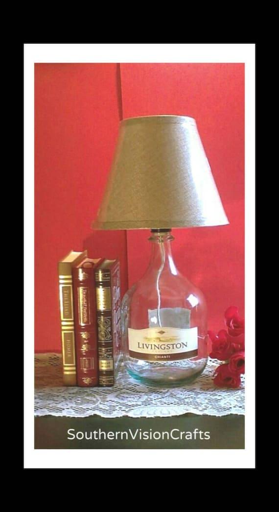 wine bottle lamp with shade large glass jug handmade. Black Bedroom Furniture Sets. Home Design Ideas