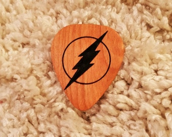 The Flash Guitar Pick, Personalized Custom Engraved The Flash Plectrum, Wood Laser Burned Comic Guitar Pick, Lightning Bolt Guitar Pick,