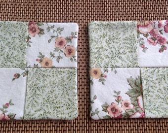 Floral print XL mug rugs, set of 2. Reversible