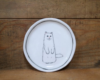 Hand made & animal painted  Versatile dish - Soap Dish - Jewelry  plate - Ceramic saucer - Cute serving - Cute Cat dish