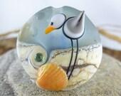 1 SEAGULL - LENTIL -BEAD-  artisan lampwork bead. Handmade by German glass artist Sabine Frank