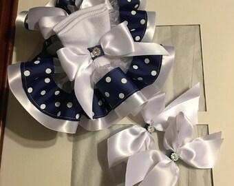 Girls navy and white polka dotted ruffle socks