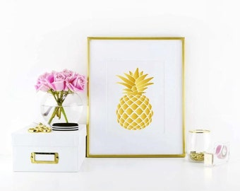 "Gold pineapple 8""x10"" wall print"