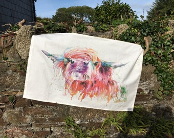 designer contemporary dairy highland cow art large tea towel , 100%cotton made in uk , by designer and artist nicola jane rowles