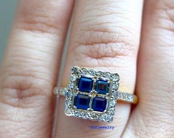 ON SALE: Vintage 18K Sapphire And Diamond Ring