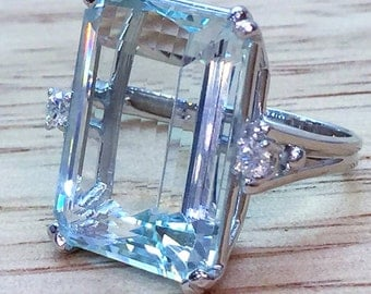 Vintage 19.79 Carat Aquamarine And Diamond Ring By F & F Felger Co.