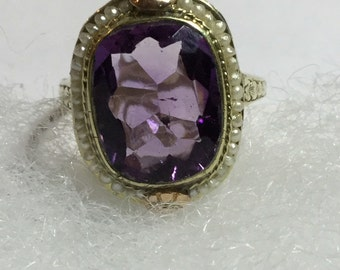 Vintage Art Deco 14k Yellow Gold with Rose Gold Accents Amethyst surrounded by pearls