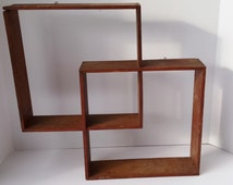 Vintage Wood Overlapping Wall Mount Cube Shelf