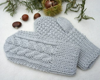 Wool mittens, Knit wool gloves, Winter baby mittens, grey mittens, Christmas gift