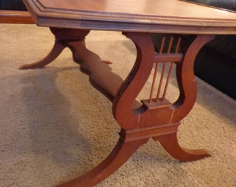 Lyre Wood Coffee Table, Warm Stained Wood Coffee TAble with Harp Detailing Legs