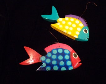 Colorful Hand Painted Wood Fish Ornaments, Polka Dot Design Wood Fish Ornaments, Tropical Fish Decorations, Wood Fish Art