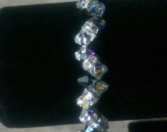 Swarovski Crystal black and clear beaded bracelet, Sterling silver heart toggle clasp. Formal Sparkling Gift Handmade Jet black Shiny