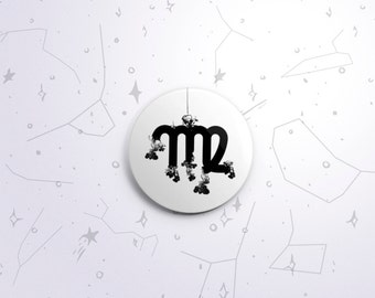 Virgo zodiac one-inch pinback button badge - small pin