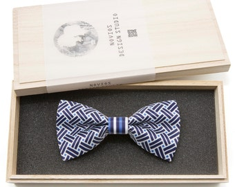 Geometric pattern 2 Bowtie - Modern Boys Bowtie, Toddler Bowtie Toddler Bow tie, Groomsmen bow tie, Pre Tied and AdjustableNovioshk, H0268