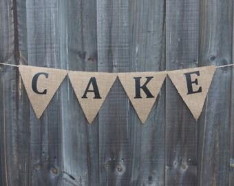 Customisable Burlap / Hessian CAKE banner.