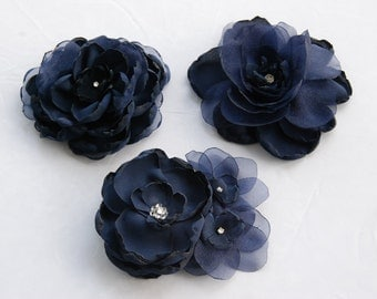 Set of 3 Bridesmaid navy fabric flower hair clips;Navy bridesmaid hair flowers;midnight navy hair clips