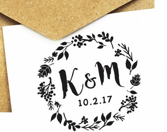 Wreath Wedding Save The Date Monogram Stamp (wooden stamp, self-inking stamp, clear stamp) (MO115a)
