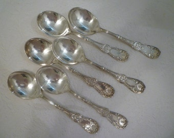 SOUP GUMBO SPOONS. Set of 6 Fabulous Victorian Era Set of Six. Ornate Vintage Spoons. Vintage Silver Soups Gumbo Spoons