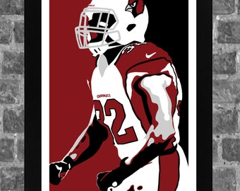 Arizona Cardinals Honey Badger Tyrann Mathieu Portrait Sports Print Art 11x17