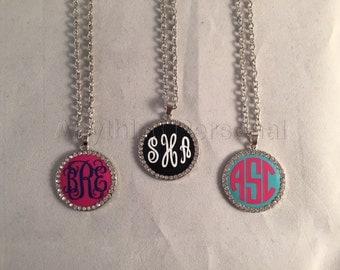 Monogrammed Rhinestone Enamel Necklace, Personalized Necklace, Enamel Necklace, Personalized Jewelry, Monogram Gift, Rhinestone Necklace