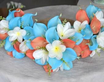 Bridesmaids Bouquets Real Touch Calla Lilies Aqua Coral White Wedding Bouquets