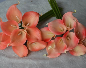 9 Coral Calla Lilies Real Touch Flowers DIY Wedding Bouquets Coral Silk Bridal Bouquets Wedding Centerpieces