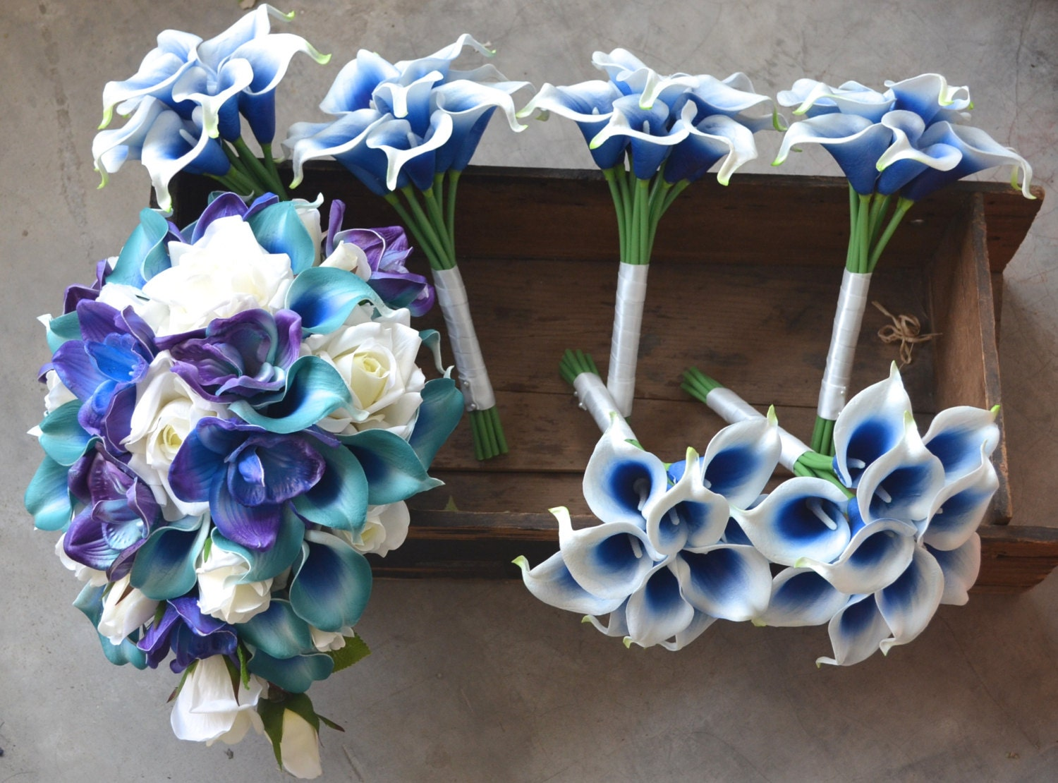 Royal Blue And Ivory Wedding Bouquets : Wedding package teal royal blue purple cascade bridal bouquet