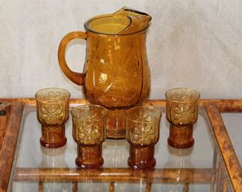 Vintage Amber Pitcher with Matching Glasses - Mid Century Modern Beverage Serving Set -Vintage Glass Ice Tea/Juice Jug with Matching Glasses