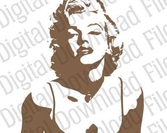 Vector Graphic - DD521 Marilyn Monroe - DIGITAL DOWNLOAD - Ai & Svg formats - Fully Editable Vinyl Ready Image, Norma Jeane Mortenson