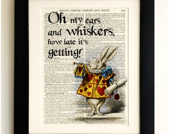 ART PRINT on old antique book page - Alice in Wonderland, White Rabbit Quote, Upcycled Wall Art Print Encyclopaedia Dictionary Page, Gift