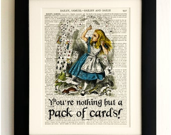 ART PRINT on old antique book page - Alice in Wonderland, Playing Cards Quote, Vintage Upcycled Wall Art Print Encyclopaedia Dictionary Page