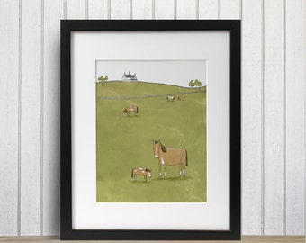 """Horses Doing Their Thing; 8"""" x 10"""" Art Print, Home Decor, Art Print, Drawing, Illustration, Nature, Farming, Horse, Animals, Horse Lover"""