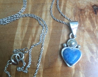 925 blue stone heart and pearl necklace