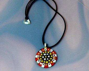 Murano Glass Pendant Millefiori Different Colors Venetian Glass Black