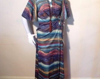 1970's hippy trippy petrol psychedelic festival/revival wrap around maxi dress