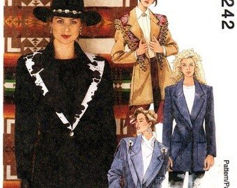 McCall's 7242 Misses' Rodeo Chic Jackets and Shawl 1994 / SZ10-14 UNCUT