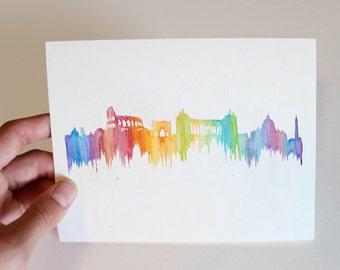 City Skyline Notecard-Rome, Italy, blank inside