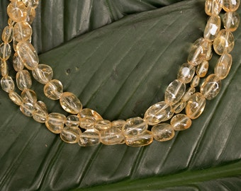 Citrine beads multi-strand statement necklace, free earrings