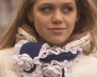 scarf with roses and lace, blue white scarf, a gift for her, trendy products