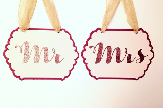 Mr & Mrs Signs - Chair Signs - Wedding Signs - Mr and Mr - Mrs and Mrs