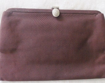 "Now 1/2 Price! Beautiful Vintage Signed ""bobbie jerome"" Brown Fabric Clutch Evening Handbag Purse w/Rhinestone Encrusted Clasp"
