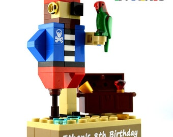 LEGO® MINILAND PIRATES cake topper table decoration birthday party engraved personalised